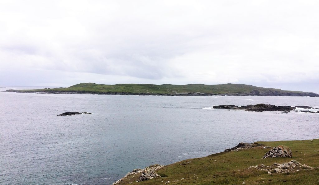 A view Inishshark - you can make out St. Leo's Church and other ruins.
