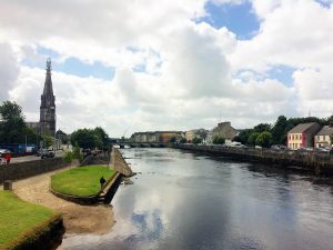 Ballina on the River Moy with St. Muredach's Cathedral on the left.