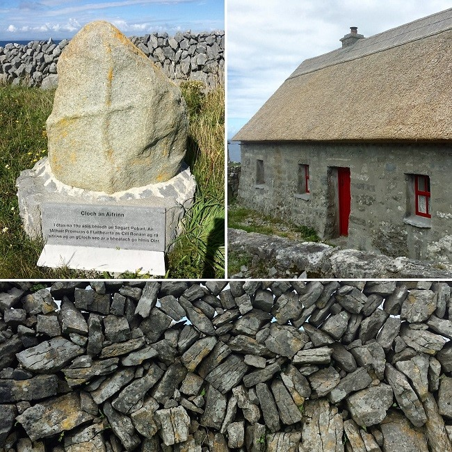 A mass rock, island cottage and stone wall