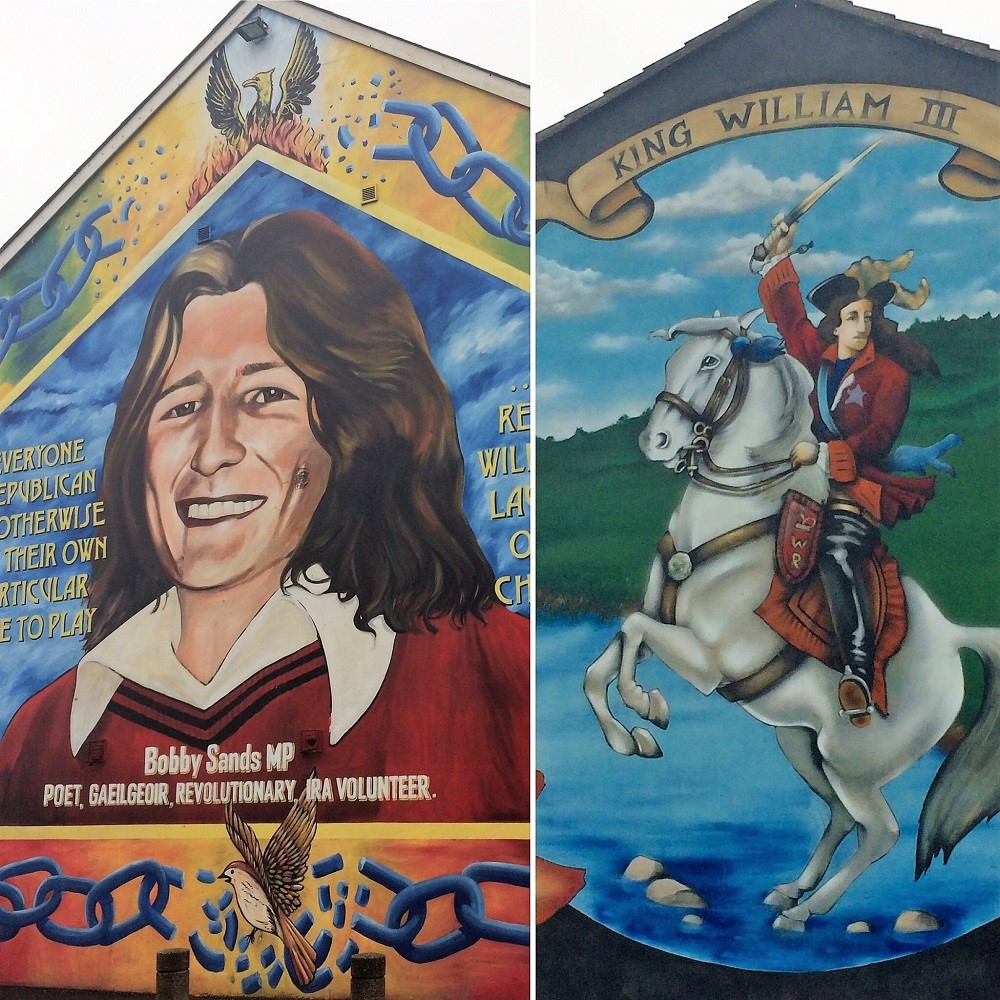 Two murals symbolising both sides of the religious divide.